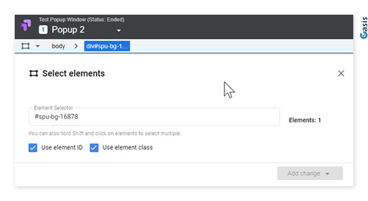 בחירת אלמנט באמצעות ID בעורך של Google Optimize